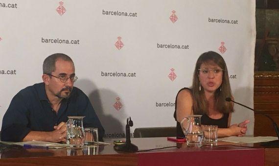 Janet Sanz y Manuel Valdés, durante la conferencia de prensa / AROA ORTEGA